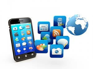 Smartphone with cloud of application icons Note: All Devices design and all screen interface graphics.