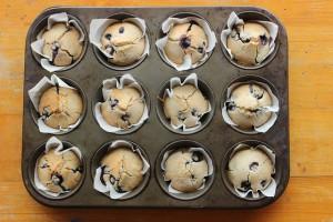 Fresh baked muffins still in baking dish.